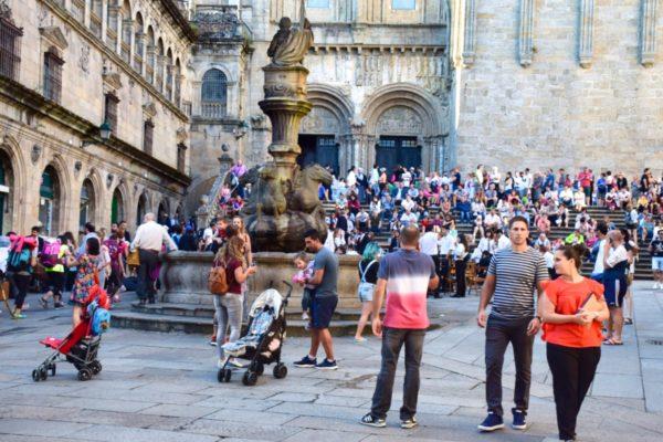 Vor der Kathedrale von Santiago