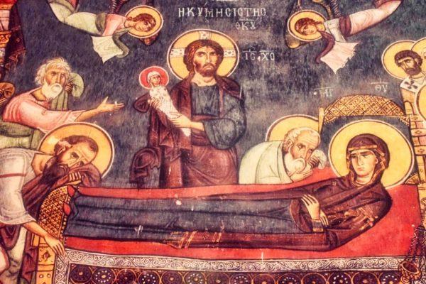Fresko in der Scheunenkirche von Asinou